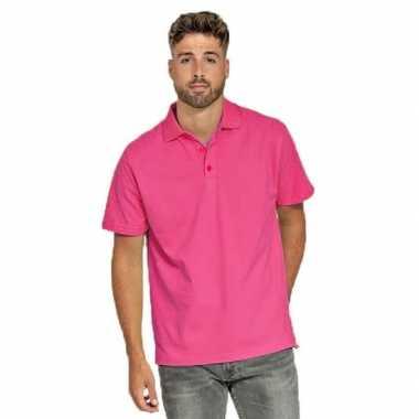 Goedkope fuchsia roze poloshirt voor heren