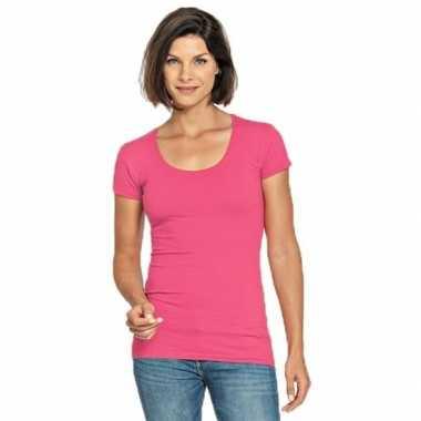 Goedkope fuchsia roze shirt met ronde hals voor dames