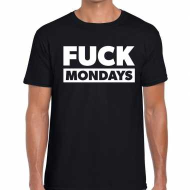 Goedkope fuck mondays fun t shirt zwart voor heren