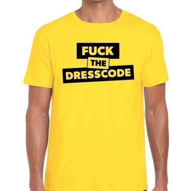 Goedkope fuck the dresscode fun t shirt geel voor heren