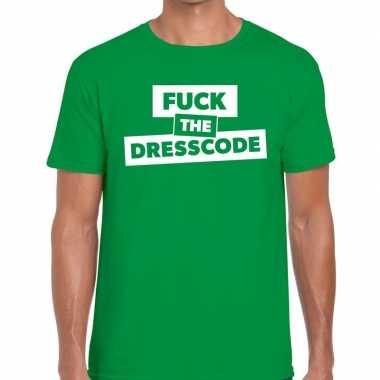 Goedkope fuck the dresscode fun t shirt groen voor heren