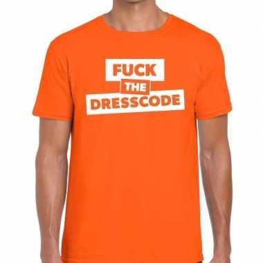Goedkope fuck the dresscode fun t shirt oranje voor heren
