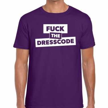 Goedkope fuck the dresscode fun t shirt paars voor heren
