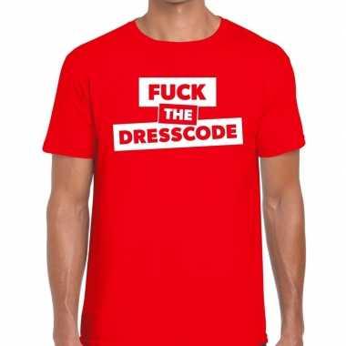 Goedkope fuck the dresscode fun t shirt rood voor heren