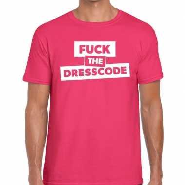 Goedkope fuck the dresscode fun t shirt roze voor heren