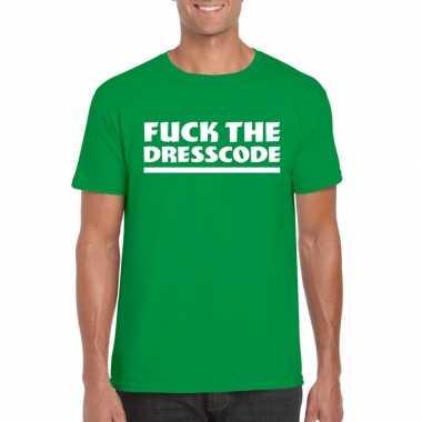Goedkope fuck the dresscode fun t shirt voor heren groen