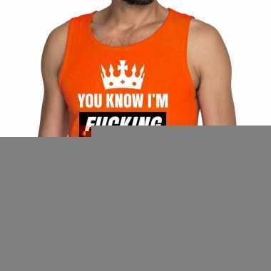 Goedkope fucking kingsize tanktop / mouwloos shirt oranje heren