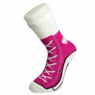 Goedkope fun foute sokken fuchsia roze basketbalschoenen/gympen print