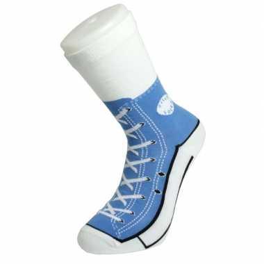 Goedkope fun foute sokken lichtblauwe basketbalschoenen/gympen print