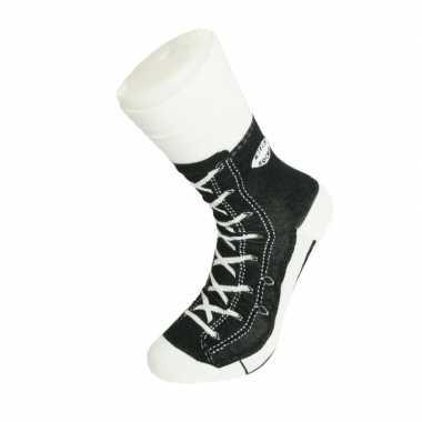 Goedkope fun foute sokken zwarte basketbalschoenen/gympen print voor