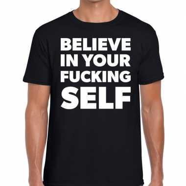 Goedkope fun t shirt believe in your fucking self zwart voor heren