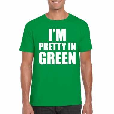 Goedkope fun t shirt i am pretty in green groen voor heren