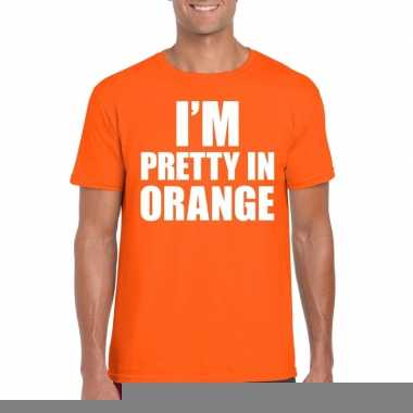Goedkope fun t shirt i am pretty in orange oranje voor heren