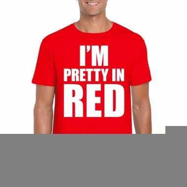 Goedkope fun t shirt i am pretty in red rood voor heren