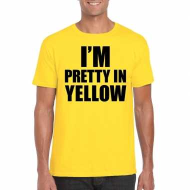 Goedkope fun t shirt i am pretty in yellow geel voor heren