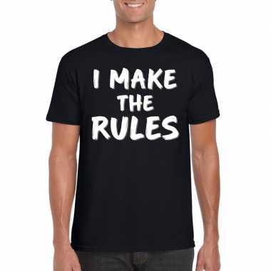 Goedkope fun t shirt i make the rules zwart voor heren
