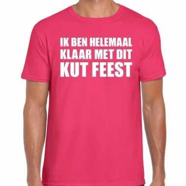 Goedkope fun t shirt ik ben helemaal klaar met dit kut feest roze voo