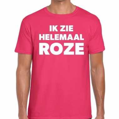 Goedkope fun t shirt ik zie helemaal roze voor heren