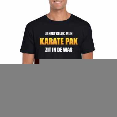 Goedkope fun t shirt karatepak in de was zwart voor heren