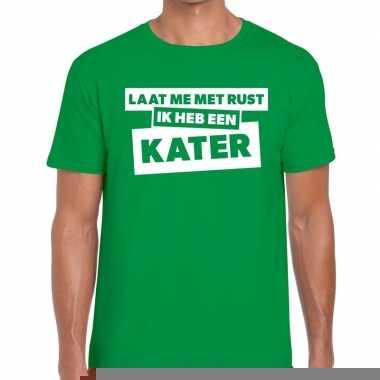 Goedkope fun t shirt laat me met rust ik heb een kater groen voor her