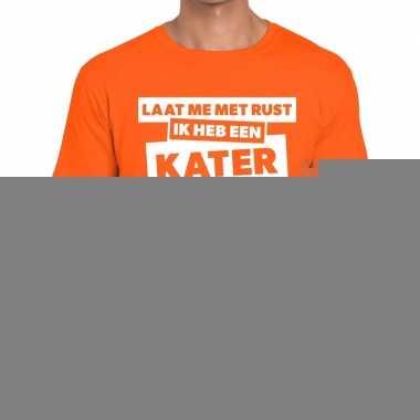 Goedkope fun t shirt laat me met rust ik heb een kater oranje voor he