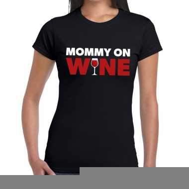 Goedkope fun t shirt mommy on wine zwart voor dames