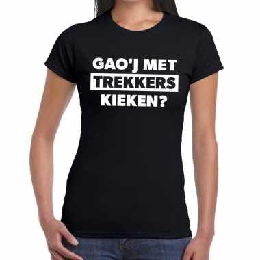 Goedkope gaoj met trekkers kieken zwarte cross t shirt zwart voor dam
