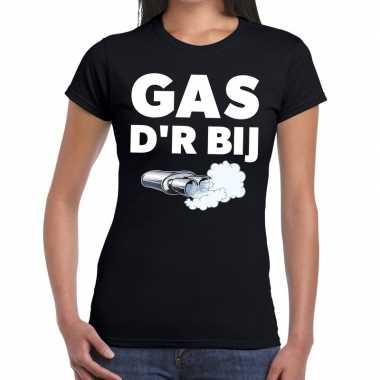 Goedkope gas der bij zwarte cross achterhoek t shirt zwart voor dames