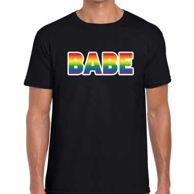 Goedkope gay pride babe tekst/fun shirt zwart heren