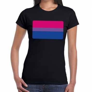 Goedkope gay pride bisexual vlag shirt zwart dames