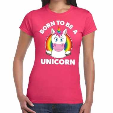 Goedkope gay pride born to be a unicorn t shirt roze dames