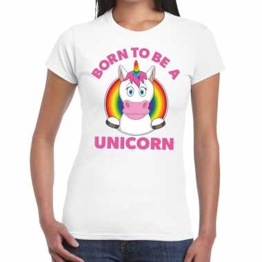 Goedkope gay pride born to be a unicorn t shirt wit dames