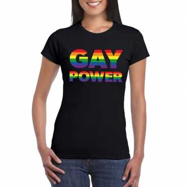 Goedkope gay pride gay power shirt zwart dames