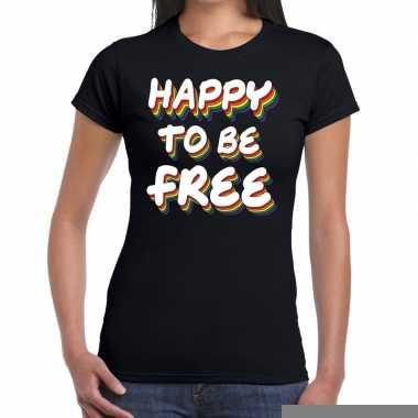 Goedkope gay pride happy to be free shirt zwart dames