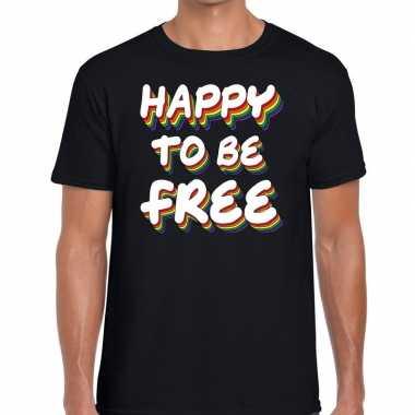 Goedkope gay pride happy to be free shirt zwart heren