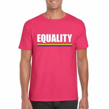 Goedkope gay pride homo shirt roze equality heren