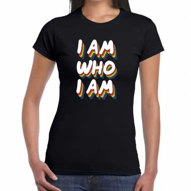 Goedkope gay pride i am who i am shirt zwart dames