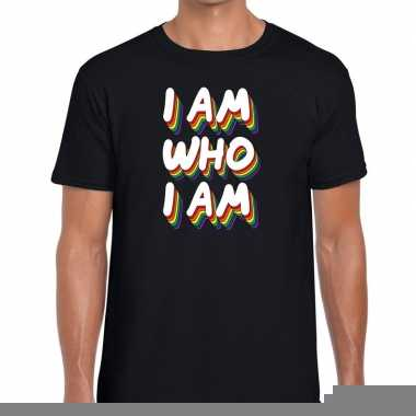 Goedkope gay pride i am who i am shirt zwart heren