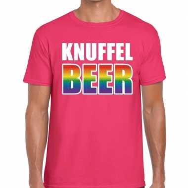 Goedkope gay pride knuffel beer shirt roze heren