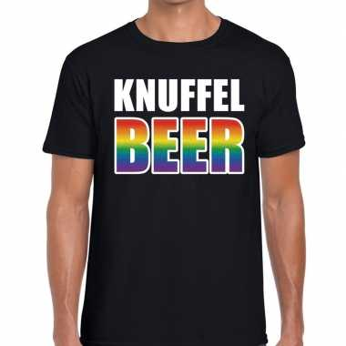 Goedkope gay pride knuffel beer tekst/fun shirt zwart heren