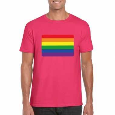Goedkope gay pride/ lgbt shirt regenboog vlag roze heren