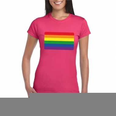 Goedkope gay pride/ lgbtshirt regenboog vlag roze dames