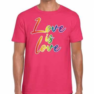 Goedkope gay pride love is love shirt roze heren