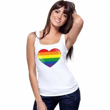Goedkope gay pride mouwloos shirt regenboog vlag in hart wit dames