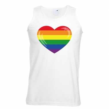 Goedkope gay pride mouwloos shirt regenboog vlag in hart wit heren