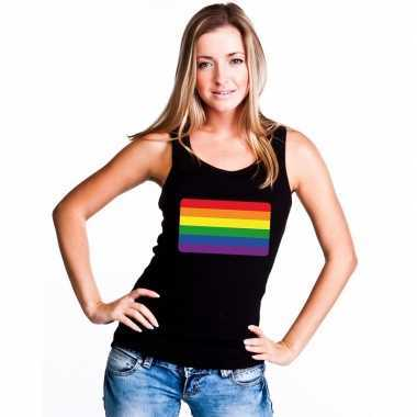 Goedkope gay pride mouwloos shirt regenboog vlag zwart dames