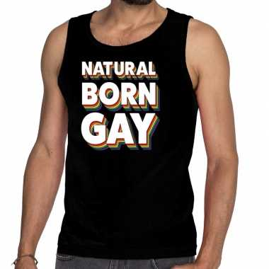 Goedkope gay pride natural born gay shirt zwart heren