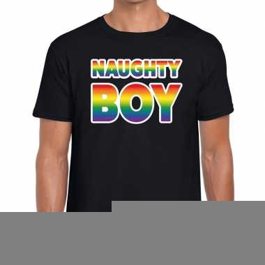 Goedkope gay pride naughty boy pride tekst/fun shirt zwart heren