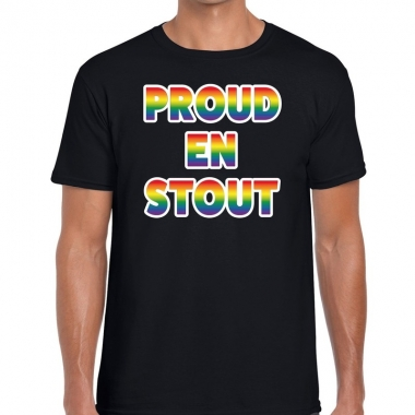 Goedkope gay pride proud en stout shirt zwart heren