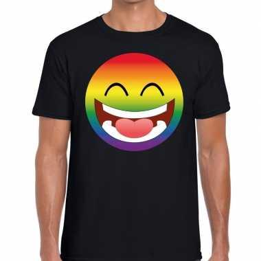 Goedkope gay pride regenboog emoticon fshirt zwart heren